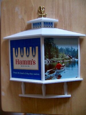 """Hamm's Beer Sign 2 Panel W/rooster Man And Bear In Canoe 15""""x13"""""""