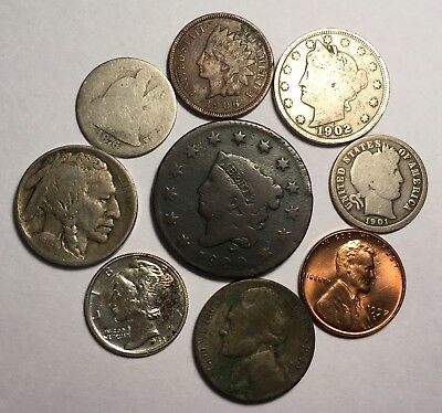 Us Type Coin Lot - Large Cent,mercury,barber,indian,v-Nickel,seated,13 Buffalo