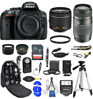 Nikon D5300 18-55+Tamron 70-300mm Ultimate Backpack Bundle+32gb+More*Brand New*