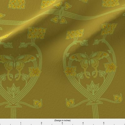 Victorian Arts and Crafts Butterfly1c Fabric Printed by Spoonflower BTY