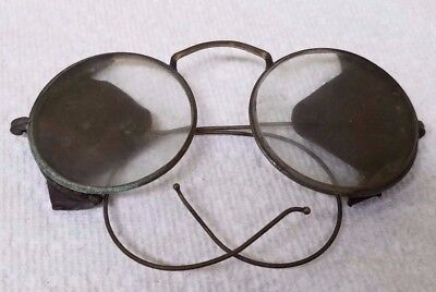 Vintage Willson Safety Goggles Glasses Leather side Protection Motorcycle Steam
