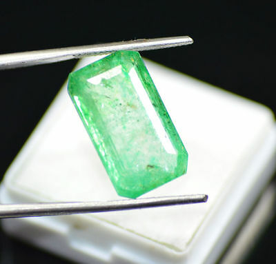 Excellent 11.90 Ct Natural Emerald Shape EGL Certified Green Emerald