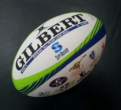 Gilbert Official Super Rugby All Team Logo Full Size 5 Rugby Union Football *NEW