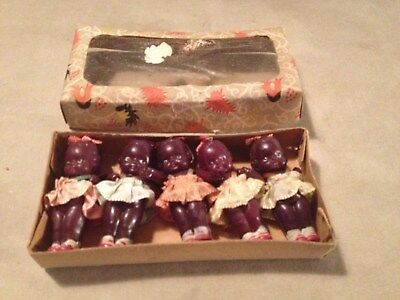 Original Boxed Set of 5 Celluloid African American Babies (1920's or 30's)