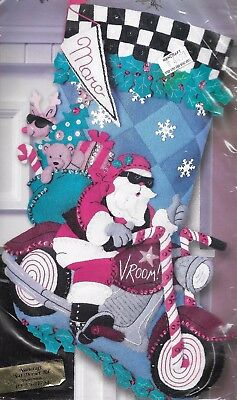 """BIKER SANTA""  BUCILLA CHRISTMAS STOCKING KIT stamped FELT 45.7CM - RARE NOVELTY"