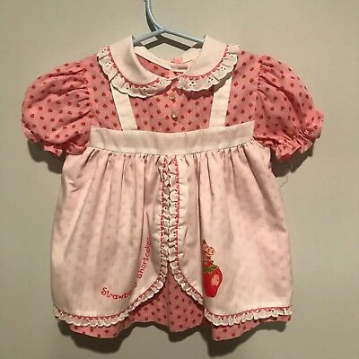 Rare Vintage Strawberry Shortcake Pink Apron Toddler's Frock Dress