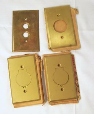 4 Antique Brass Covers Lid Receptacle Switch Plate Vtg Wall Floor Outlet