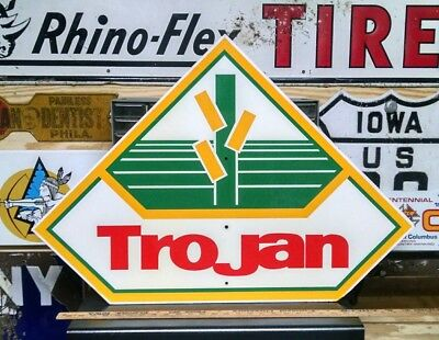 Vintage Trojan Seed sign - Dekalb advertising corn barn farm country decor TX