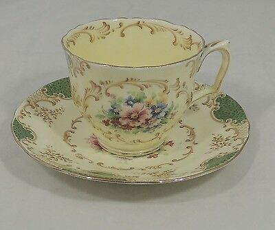 Crown Staffordshire England Tea Cup & Saucer Gold Trim Floral Scallop Edge EUC