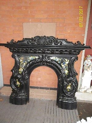 Stunning Antique Cast Iron Fireplace Mantle Ornate Foil Pics Temper Glass VGC