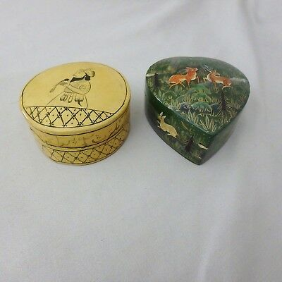 2 Vtg Lacquered Trinket Boxes, Arabic Middle Eastern Man, India Heart w/ Deer