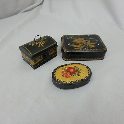 3 Vtg Tole Ware Tin Boxes w/ Flower Detail Including Miniature Dome Document Box