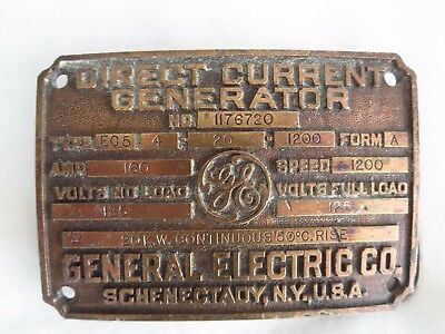 Ge General Electric Antique  Brass Plaque Direct Current  Generator Id Plate