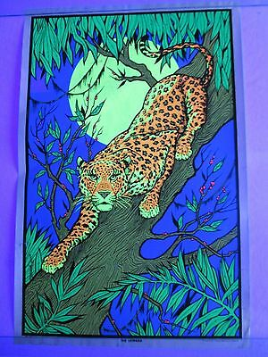 Vintage Psychedelic Blacklight Poster THE LEOPARD Trippy Jungle Cat Headshop