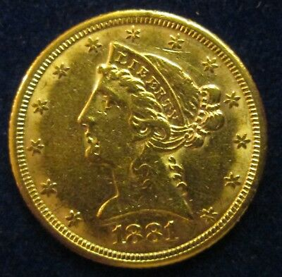 1881 U.s. Liberty Head $5 Dollar Gold Coin Half Eagle!