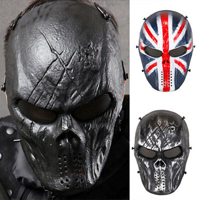 Tactical Airsoft Paintball Mask Outdoor Skull Full Face Reenactment Protection