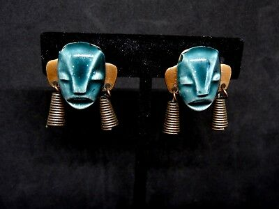 Vintage ELZAC Style Jade Green Ceramic and Copper Tribal Face Mask Earrings