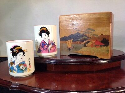 Vintage Japanese Original Inlaid Solid Wood Art Cigarette Box With 2 Sake Cups