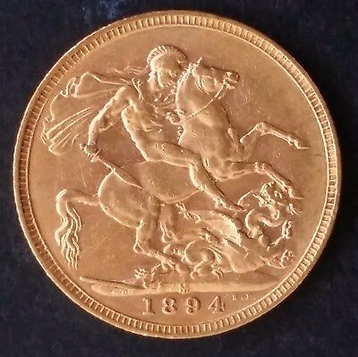 1894 Australia One Sovereign Gold ( .916 ) coin Queen Victoria M Mintmark