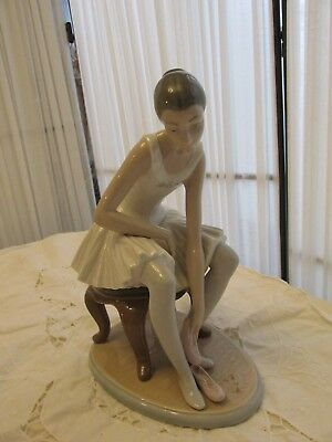 Beautiful and Rare - NAO Llladro Figurine Seated Ballerina Putting On Shoes