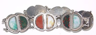 Vintage Scottish Banded Agate Antique Victorian Sterling Silver Panel Bracelet