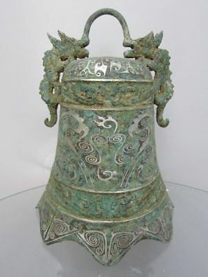 """10"""" Chinese old Bronze Ware Double Dragon Bells Zhong Statue"""