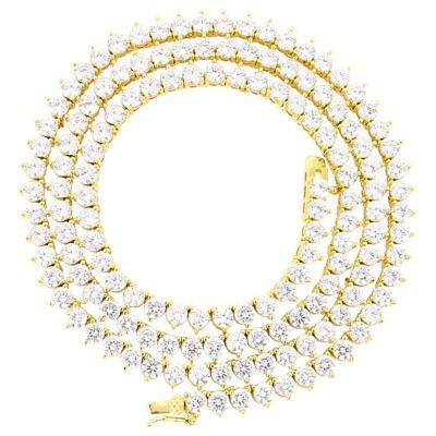 3 Prong Tennis Necklace 14k Gold Finish Lab Diamonds Iced Out 4mm Chain/Bracelet