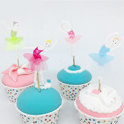 8pcs Ballet Girls Colorful Flag Toppers Cupcake Cake Decor Wedding Party