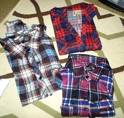 Womens Lot Of 3 Flannel Shirts Rue 21 Passport Size Small Plaids