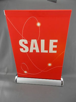 "11"" x 19"" ""SALE"" Retractable Sign RED Banner Fabric Tabletop Counter Top Stand"
