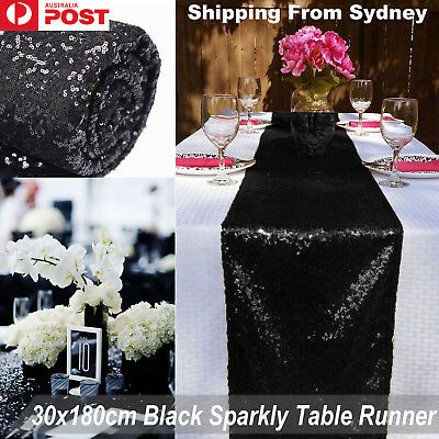 30x180cm Black Sparkly Table Runner Catering Sequin Wedding Party Glitter Linens
