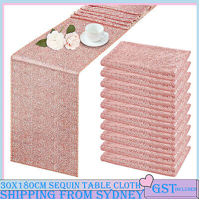 30x180cm Rose Gold Sparkly Table Runner Catering Sequin Wedding Party Glitter De