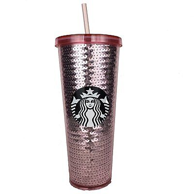 Starbucks 2017 Pink Rose Gold Sequins 24 oz Cup Limited Edition Holiday Tumbler