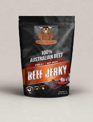 BEEF JERKY FRESH SAVOURY SNACK FOOD 200g CHILLI AUSTRALIAN DELICIOUS FLAVOUR
