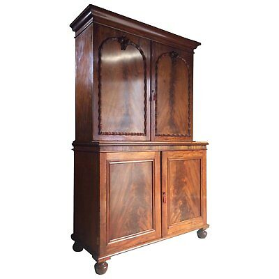Linen Press Wardrobe Antique Regency Cabinet Housekeepers Cupboard Mahogany 1820