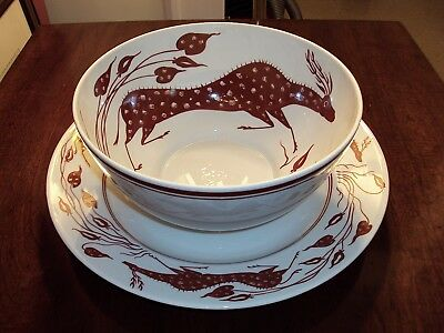 """Block Brooklyn Museum Collection Vista Alegre Handpainted Bowl & 13"""" Charger"""