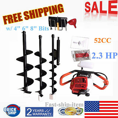 "2.3HP 52cc GAS POWERED EARTH POST FENCE HOLE DIGGER w/ DRILL BITS 4"" 6"" 8"" USA"