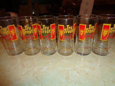 Lot of 6 RARE Tru Treat Soda collectable drinking glasses