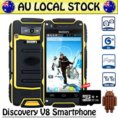 Yellow Discovery V8 Unlocked Android Rugged 3G Smartphone Tough Mobile Phone+32G