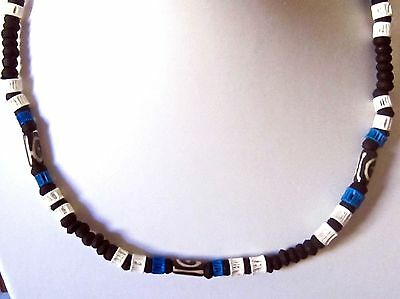NECKLACE BLACK BLUE WOOD WOODEN BEADS SURFER STRETCHY mens womens surf beach boy