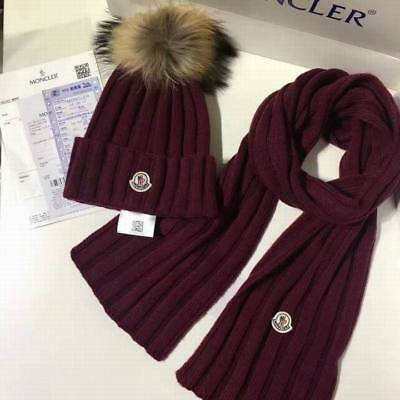 2017 Moncler authentic women classic winter Knitted hat & scarf { one set}