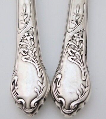 Antique French Sterling Silver Serving Fork Set 2pc Pair ART NOUVEAU Easter Lily