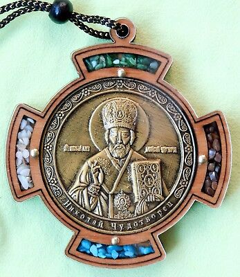Car Pendant, Icon JERUSALEM Saint Nicholas the Wonderworker Incense, Wood, Glass