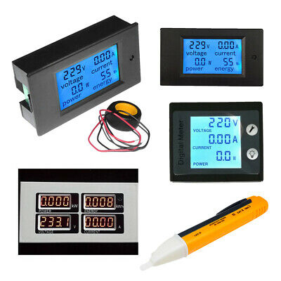 0-100A LCD Volt Current Watt Kwh Meter Power Energy Ammeter Voltmeter AC80-260V