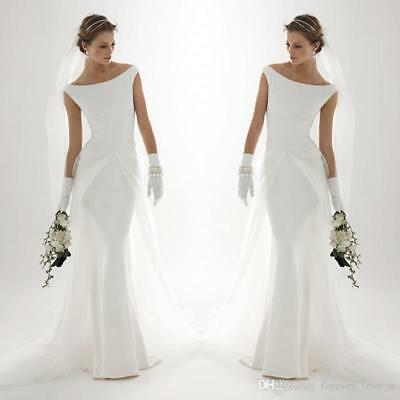 TULLE OVERSKIRT WEDDING Dresses Mermaid Bateau Neck Simple Elegant ...