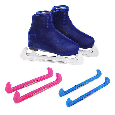 Pair Of Ice Figure Hockey Skate Blade Guards One Size Blue White Red Adjustable