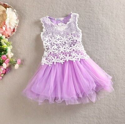 Girls Dress Vintage Lace Tulle TuTu Party Birthday Dresses Cotton Lining 1-7 Yrs