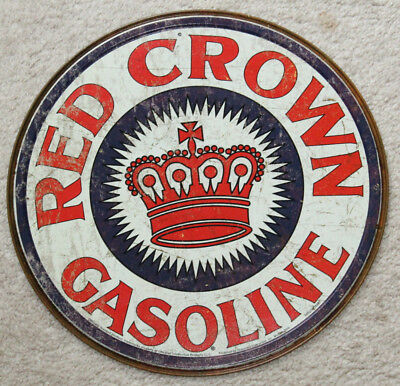 RED CROWN GAS Round Metal Sign Motor Oil Man Cave Mobil Texaco Sinclair Gasoline