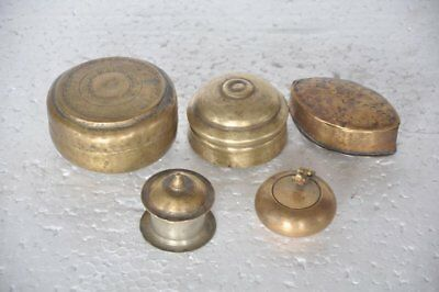5 Pc Old Brass Different Shape Handcrafted Small Powder Boxes