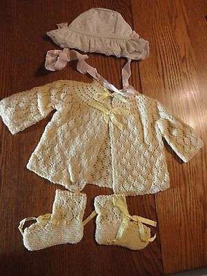 Antique VINTAGE  CHILDS  BABY Sweater, booties, Hat